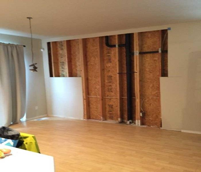 Before & After in a living room from mold damage  After